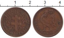 Изображение Монеты Камерун 50 сантим 1943 Бронза XF Протекторат  Франции