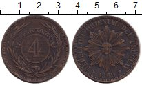 Изображение Монеты Уругвай 4 сентима 1869 Бронза XF