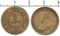 Изображение Монеты Западная Африка 6 пенсов 1924 Латунь XF