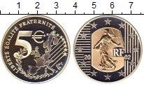 Изображение Монеты Франция 5 евро 2002 Серебро Proof Золотая  вставка.