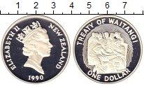 Изображение Монеты Новая Зеландия 1 доллар 1990 Серебро Proof- Елизавета II