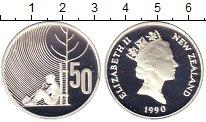 Изображение Монеты Новая Зеландия 50 центов 1990 Серебро Proof- Елизавета II