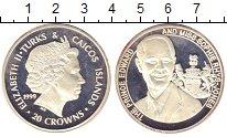 Изображение Монеты Теркc и Кайкос 20 крон 1999 Серебро Proof