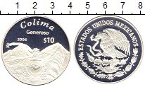 Изображение Монеты Мексика 10 песо 2006 Серебро Proof Штат  Колима.