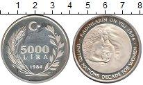 Изображение Монеты Турция 5000 лир 1984 Серебро Proof Международная  декад