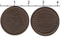 Изображение Монеты Тунис 2 сентима 1891 Бронза UNC-