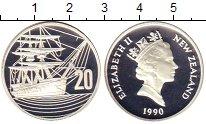 Изображение Монеты Новая Зеландия 20 центов 1990 Серебро Proof- Елизавета II