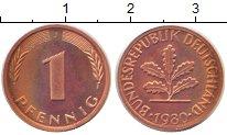 Изображение Монеты Германия 1 пфенниг 1980 Бронза UNC-