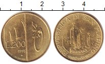 Изображение Монеты Сан-Марино 200 лир 1993 Латунь UNC-