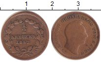 Изображение Монеты Баден 1/2 крейцера 1852 Медь VF