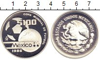 Изображение Монеты Мексика 100 песо 1986 Серебро Proof- Чемпионат  мира  по