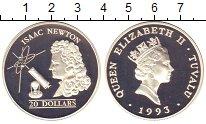 Изображение Монеты Тувалу 20 долларов 1993 Серебро Proof- Елизавета II. Исаак