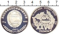 Изображение Монеты Северная Корея 250 вон 1997 Серебро Proof- Олимпиада 2000. Сидн
