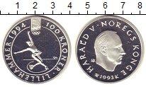 Изображение Монеты Норвегия 100 крон 1993 Серебро Proof- Олимпиада 94. Лиллех