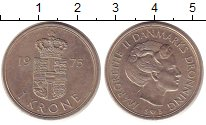 Изображение Дешевые монеты Дания 1 крона 1975 Медно-никель XF