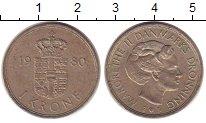 Изображение Барахолка Дания 1 крона 1980 Медно-никель XF