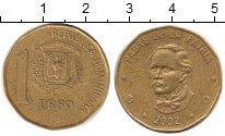 Изображение Дешевые монеты Доминиканская республика 1 песо 2002 Латунь XF