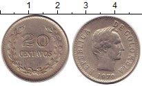 Изображение Барахолка Колумбия 20 сентаво 1970 Медно-никель XF