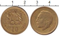 Изображение Дешевые монеты Марокко 20 сантим 1974 Латунь XF