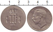 Изображение Дешевые монеты Люксембург 10 франков 1971 Медно-никель XF