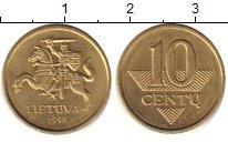 Изображение Дешевые монеты Литва 10 центов 1998 Медь VF Гедеминас