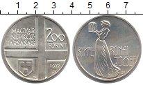 Изображение Монеты Венгрия 200 форинтов 1977 Серебро UNC 50  лет  со  дня  см
