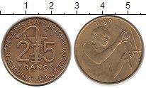 Изображение Монеты Французская Африка 25 франков 1989 Латунь XF