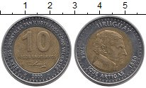 Изображение Монеты Уругвай 10 песо 2000 Биметалл XF Хосе  Артигас.