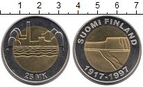 Изображение Монеты Финляндия 25 марок 1997 Биметалл UNC 80 - летие  независи