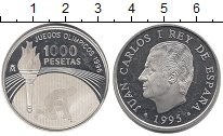 Изображение Монеты Испания 1000 песет 1995 Серебро Proof- XXVI летние Олимпийс