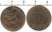 Изображение Монеты Сан-Марино 20 лир 1975 Латунь UNC-