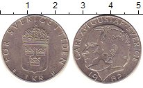 Изображение Барахолка Швеция 1 крона 1982 Медно-никель XF