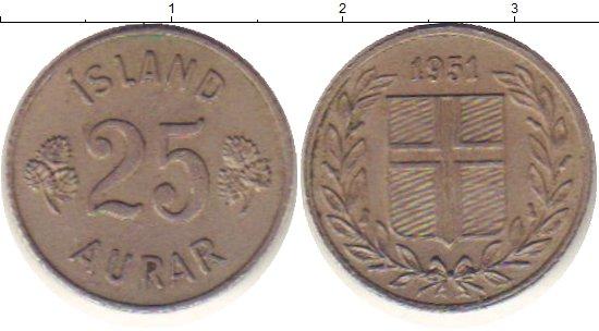 Картинка Дешевые монеты Исландия 25 аурар Медно-никель 1951