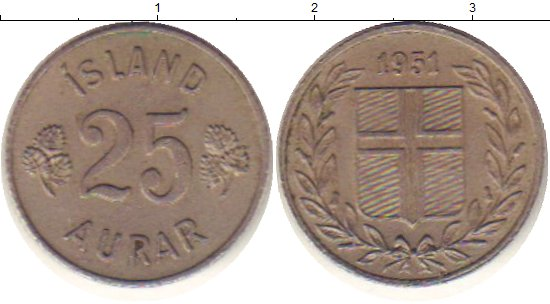Картинка Барахолка Исландия 25 аурар Медно-никель 1951