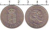 Изображение Барахолка Дания 1 крона 1974 Медно-никель XF