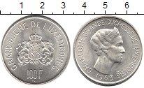 Изображение Монеты Люксембург 100 франков 1963 Серебро UNC-