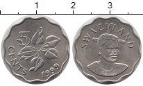 Изображение Монеты Свазиленд 5 центов 1999 Медно-никель UNC Король  Мсвати III.