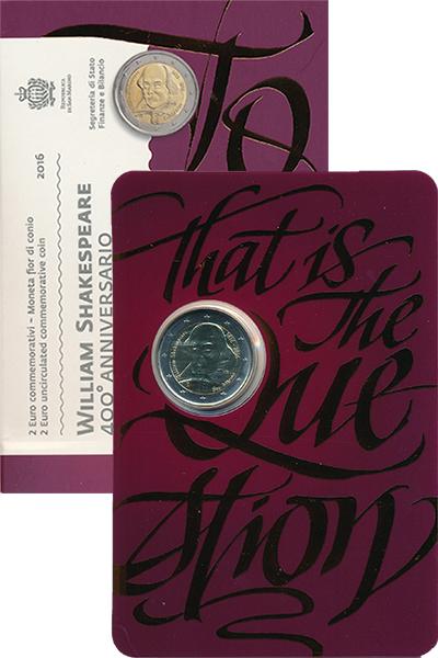 Изображение Подарочные монеты Сан-Марино Уильям Шекспир 2016 Биметалл UNC