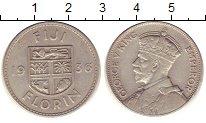 Изображение Монеты Фиджи 1 флорин 1936 Серебро XF Британский  протекто