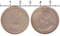 Монета Стрейтс-Сеттльмент 50 центов Серебро 1920 XF фото