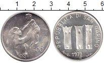 Изображение Монеты Сан-Марино 500 лир 1972 Серебро UNC