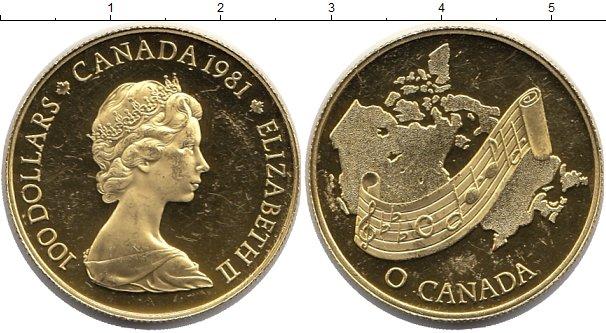 Картинка Монеты Канада 100 долларов Золото 1981
