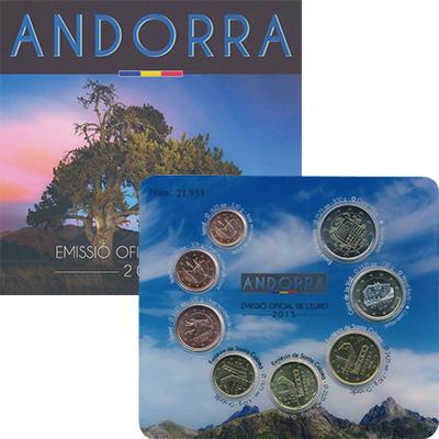 Изображение Подарочные монеты Андорра Евронабор 2015 года 2015  UNC В набор входят восем