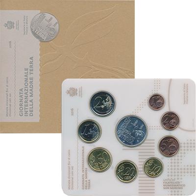 Изображение Подарочные монеты Сан-Марино Набор 2016 года с 5 евро 2016  UNC Набор из восьми евро