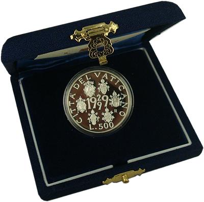 Изображение Подарочные наборы Ватикан 70 лет Ватикану 1999 Серебро Proof Монета номиналом 500