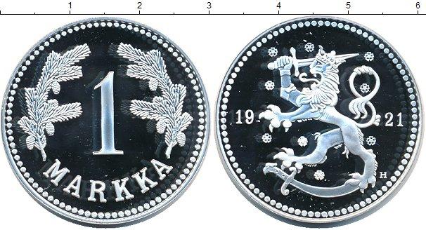 Картинка Монеты Финляндия 1 марка Серебро 1921