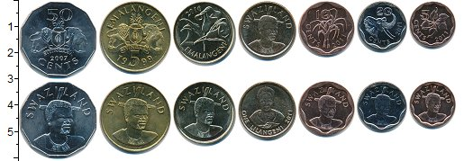 Изображение Наборы монет Свазиленд Свазиленд 1999-2011 0  UNC- В наборе 7 монет ном