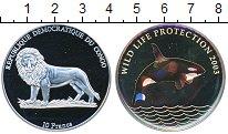 Изображение Мелочь Конго 10 франков 2003 Серебро Proof