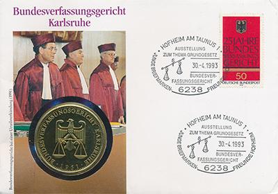Изображение Монеты Германия Федеральный конституционный суд 1993 Латунь UNC Памятный нузматическ