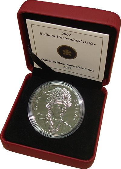 Изображение Подарочные монеты Канада 1 доллар 2007 Серебро BUNC Монета номиналом 1 д